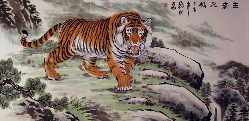 Ancient chinese tiger drawing - photo#25